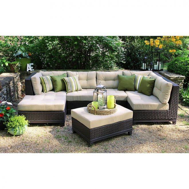 ae outdoor hillborough 4 piece all weather wicker patio sectional with sunbrella fabric