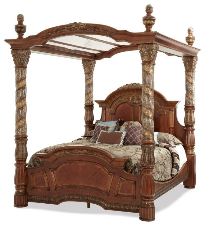 aico furniture villa valencia bed with canopy chestnut eastern king