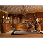 aico michael amini 5pc cortina king size sleigh bedroom set in honey walnut finish