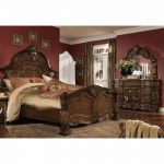 aico michael amini windsor court king mansion bedroom set w chest 6 pc in vintage fruitwood