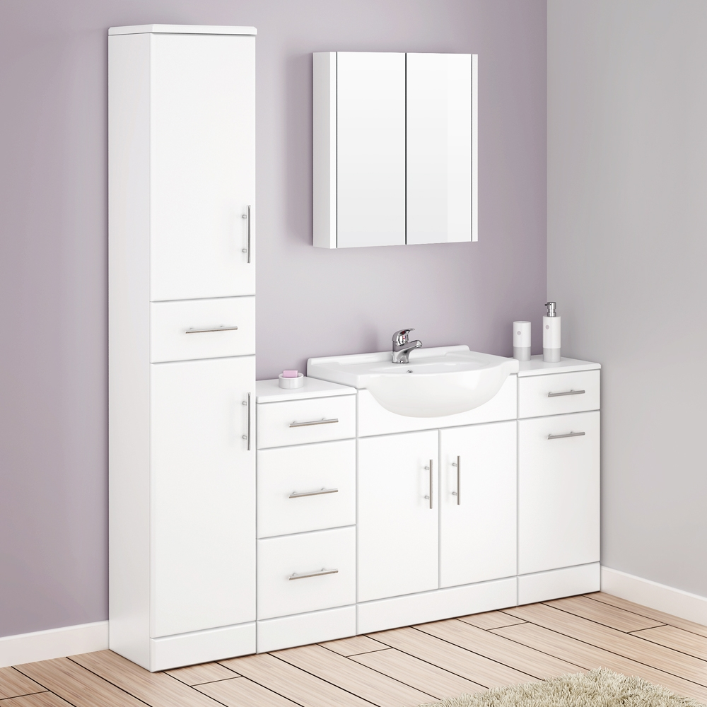 alaska bathroom furniture pack 5 piece white gloss at victorian