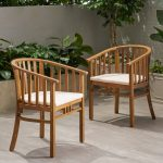 alondra outdoor wooden dining chairs with cushions set of 2 christopher knight home