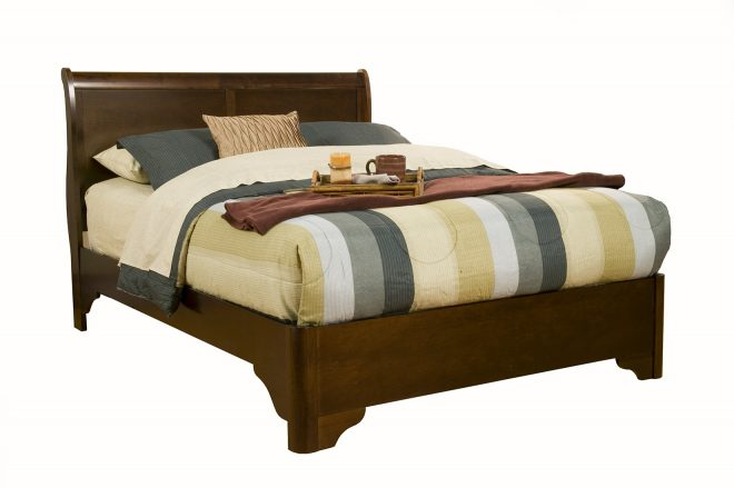 alpine furniture chesapeake queen low footboard sleigh bed in cappuccino