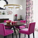 amazing dining room with velvet purple dining chairs and round table