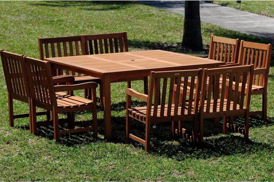 amazonia milano deluxe 9 piece eucalyptus wood square patio dining set