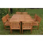 amazonia milano porto 9 piece eucalyptus wood square patio dining set