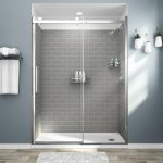 american standard passage 32 in x 60 in x 72 in 4 piece glue up alcove shower wall in gray subway tile