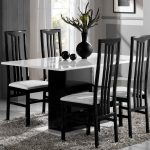 andrea italian black and white gloss dining table 160cm