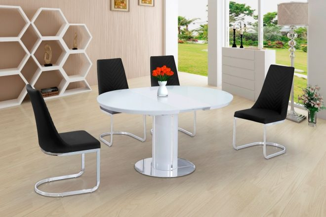 annular 110cm 150cm small round white extending dining table
