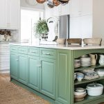 another view of the boxwood green kitchen island