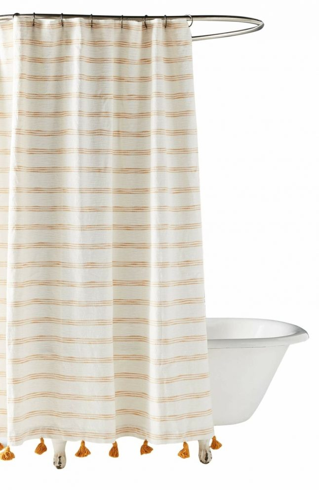 anthropologie home rio shower curtain nwt new yellow tassels