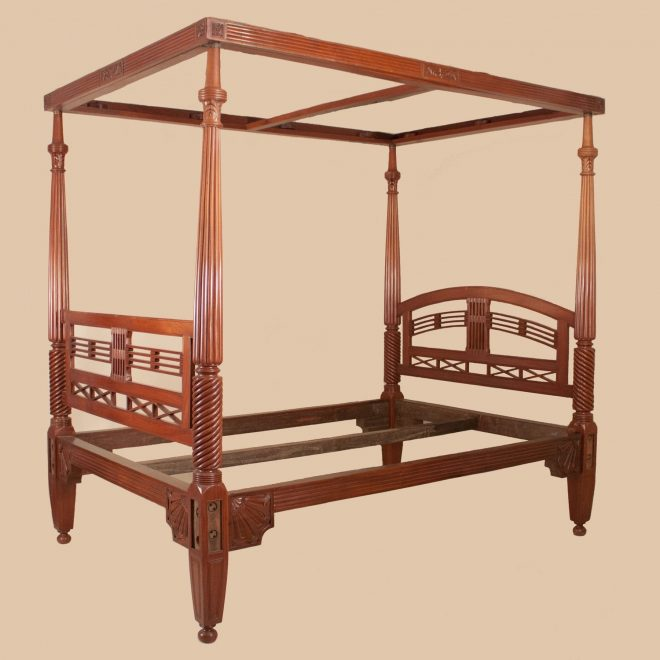 antique british colonial mahogany four poster queen bed with