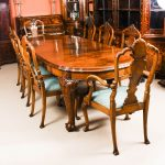 antique edwardian queen anne revival dining table 8 chairs