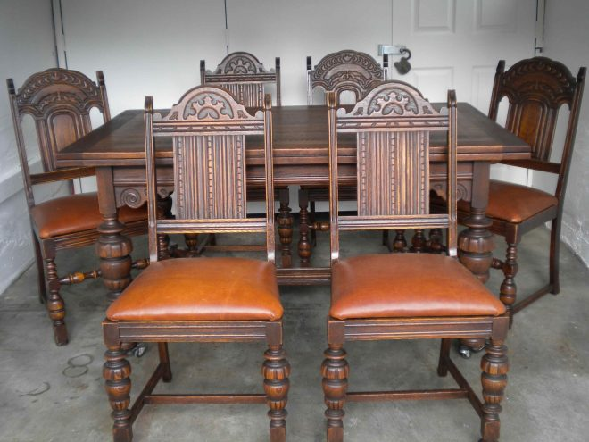 antique english oak dining table and 6 chairs with leather bottoms