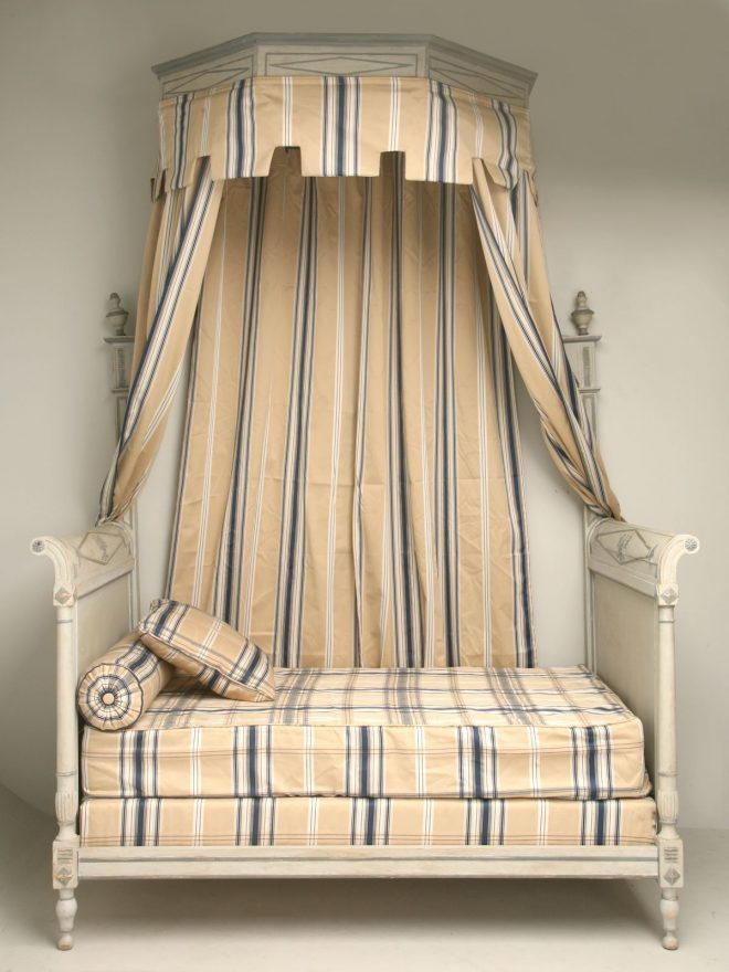 antique french directoire style canopy bed from old plank in
