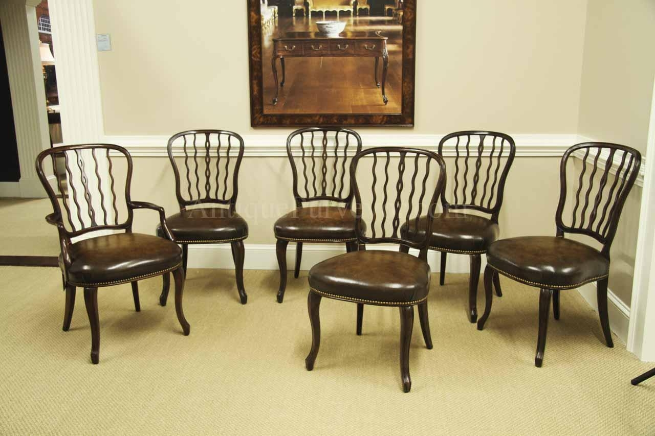 antique mahogany shield back dining room chairs with leather