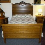 antique oak bed full size rolling pin head and footboard