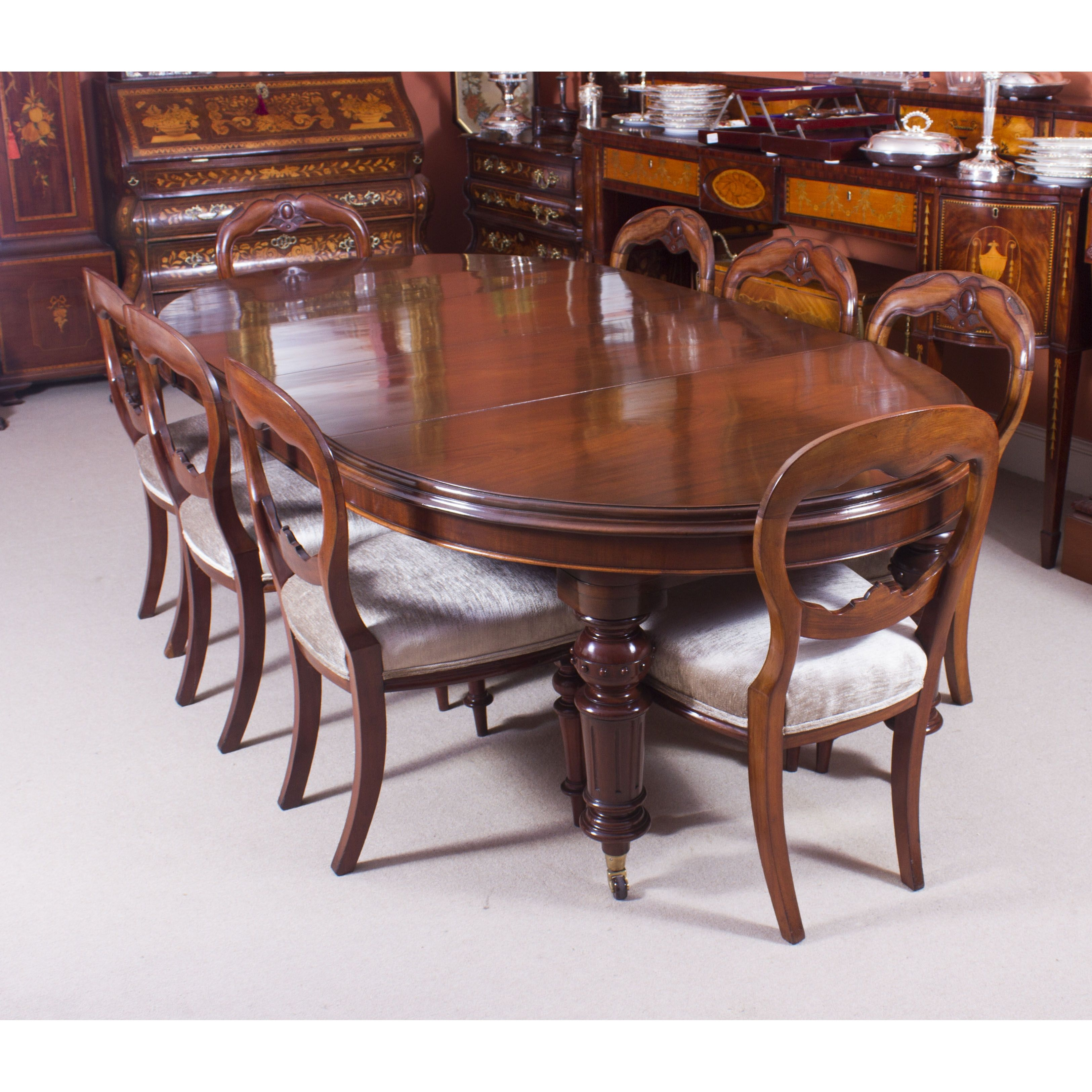 antique victorian oval dining table 8 antique chairs c