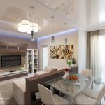 apartment living room dining combo rendering of living