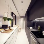 apartment long black and white galley kitchen set with
