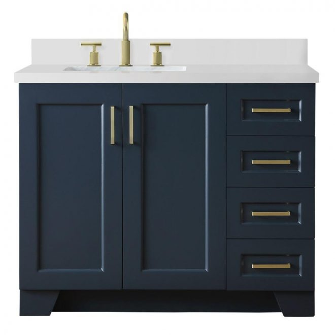 ariel 43 in w x 22 in d bath vanity in midnight blue with quartz vanity top in white w left offset white rectangle basin