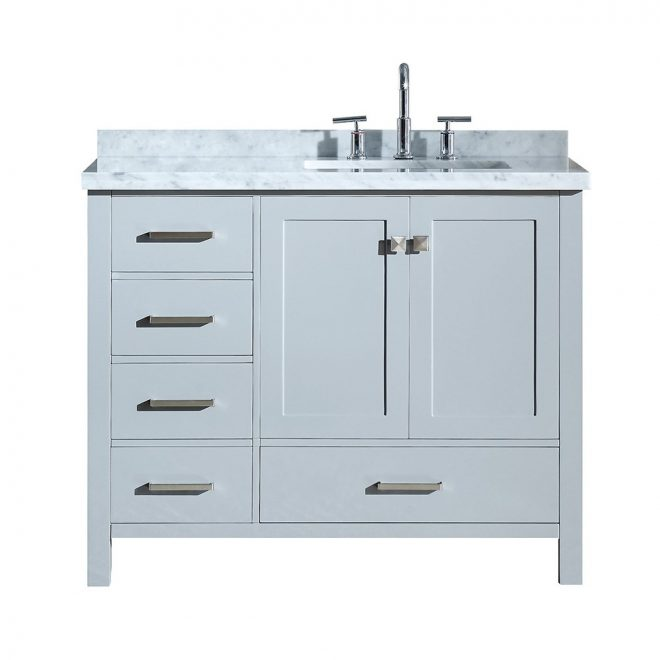 ariel cambridge 43 single sink vanity with right offset rectangle sink and white carrara marble countertop grey