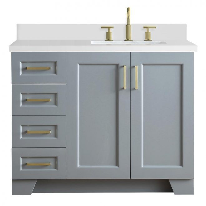 ariel taylor 43 in w x 22 in d bath vanity in grey with quartz vanity top in white with right offset white rectangle basin