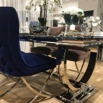aries buttoned velvet and chrome dining chair in royal blue