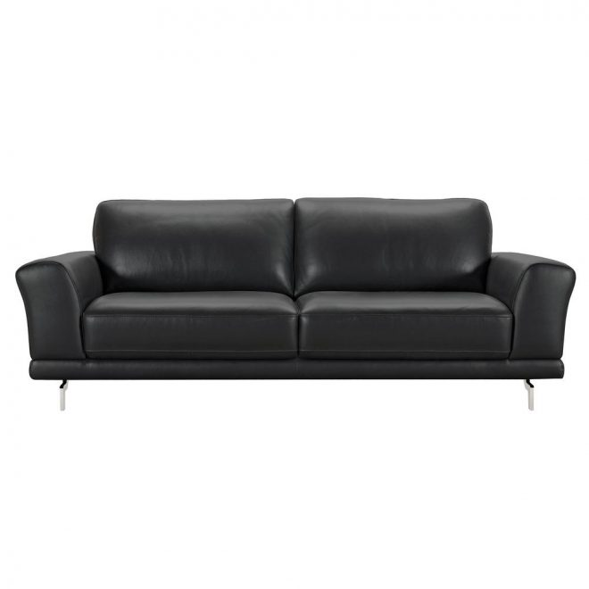 armen living armen living genuine black leather contemporary sofa