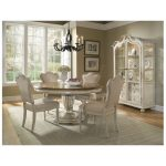 art furniture provenance 5pc round dining table set english toffee with linen apron