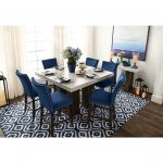 artemis counter height marble dining table and 6 upholstered