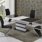 artic black and white extending dining table