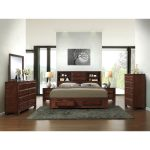 asger antique oak finish wood king size 6 piece bedroom set