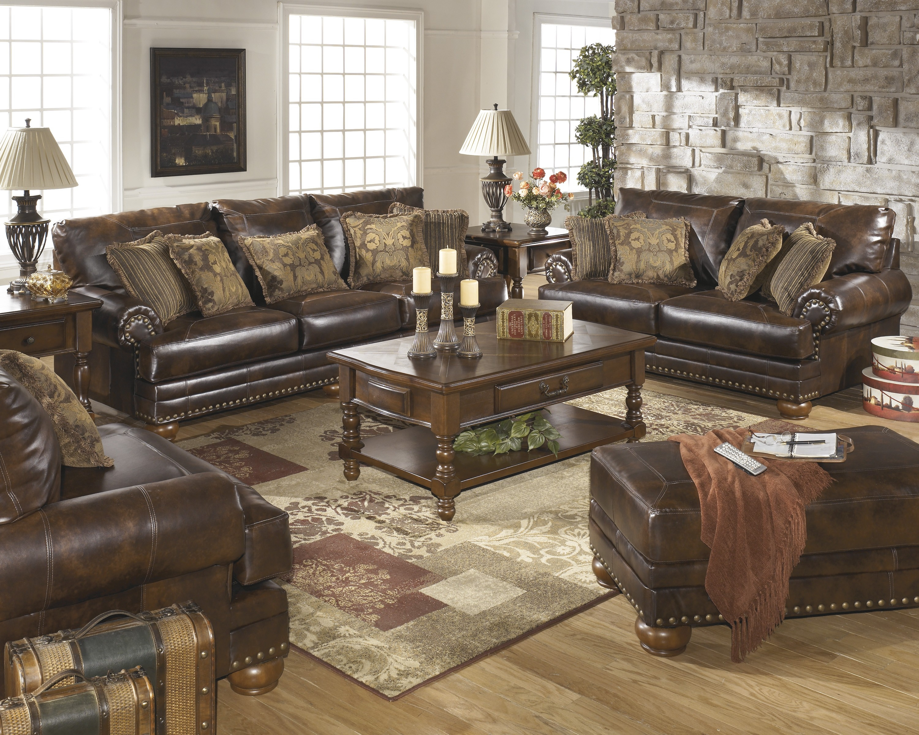 ashley brown leather durablend antique 4pc sofa package ashley