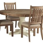 ashley furniture grindleburg round dining set in two tone with brown side chairs