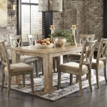 ashley furniture mester 7 piece tan table tan chair dining
