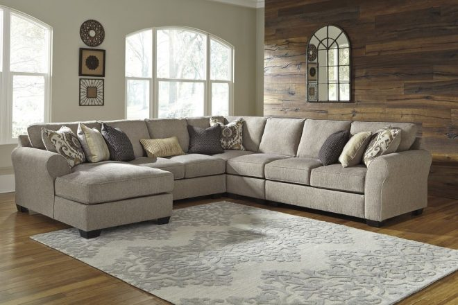 ashley furniture pantomine 5 piece sectional sofa with laf chaise in driftwood