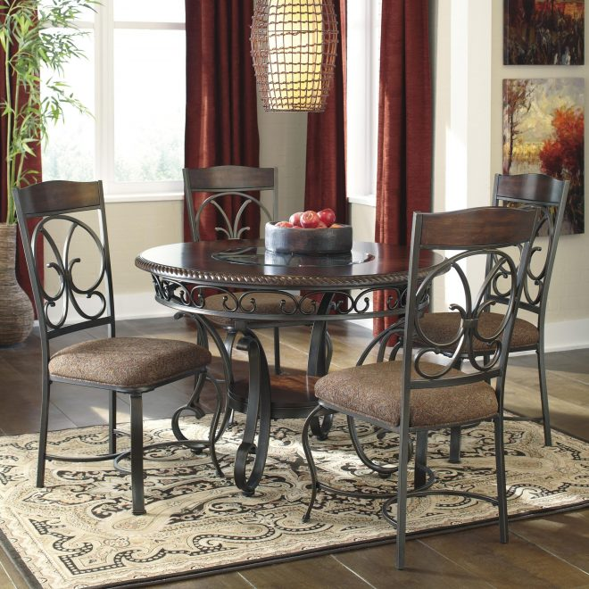 ashley signature design glambrey round dining table and 4 chair set