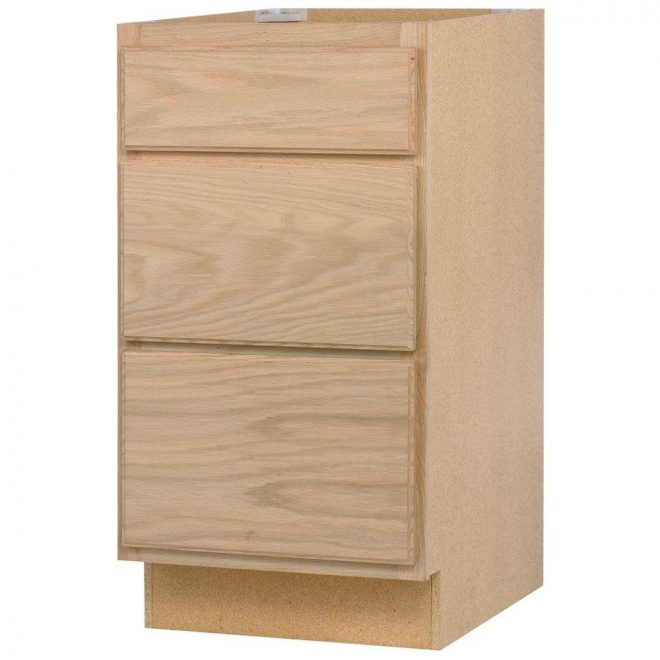 assembled 24x345x24 in drawer base kitchen cabinet in unfinished