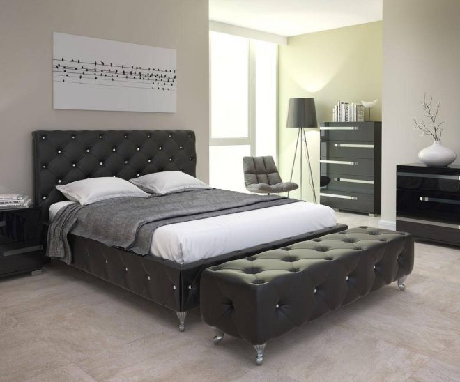 at home usa maria tufted black queen bedroom set 2pcs contemporary modern