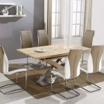 atlanta beige wooden chrome dining table set and 6 leather chairs