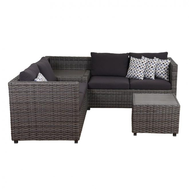 atlantic mustang 3 piece synthetic wicker sectional patio set with grey cushions