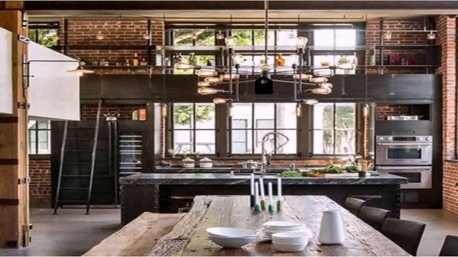 attractive industrial style home interior design 8 with