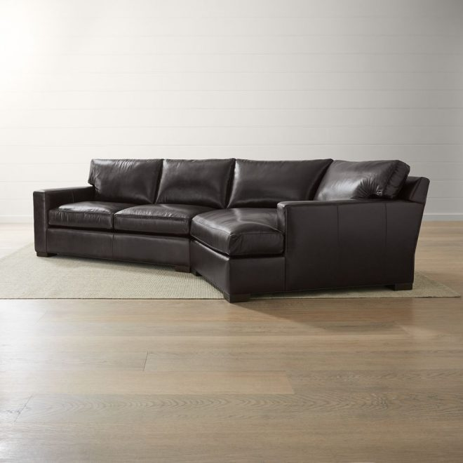 axis ii leather 2 piece right arm angled chaise sectional