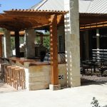 bar set up with covered patio area rustic outdoor