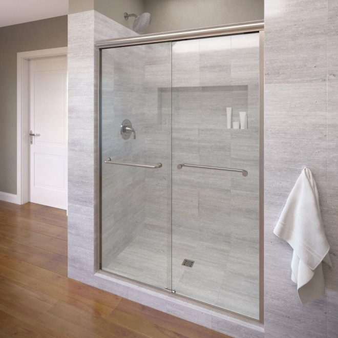 basco infinity 47 in x 70 in semi frameless sliding shower door in brushed nickel with clear glass