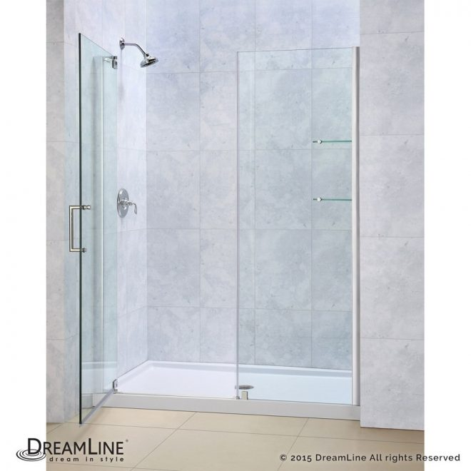 bath authority dreamline elegance frameless pivot shower door and slimline single threshold shower base 32 60