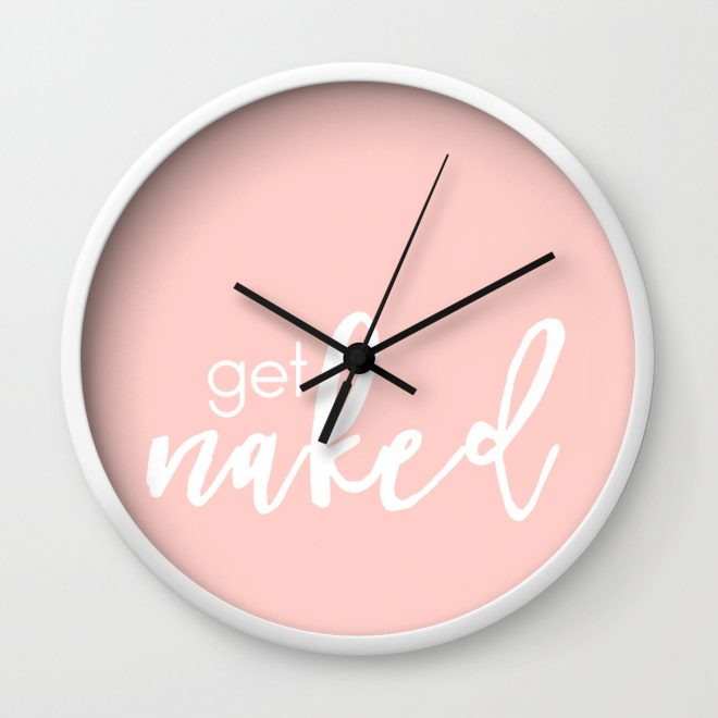 bathroom decor get naked white on light pink wall clock