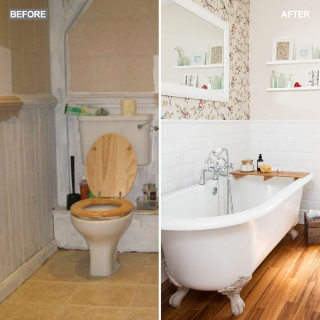 bathroom makeover with country wallpaper and rolltop bath