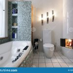 bathroom with fireplace stock photo image of white 132135650